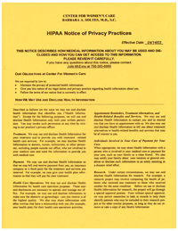 HIPPA  Notice of Privacy